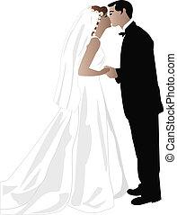 Wedding of  broom and bride