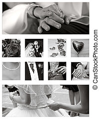 Wedding Collage background collection in black and white