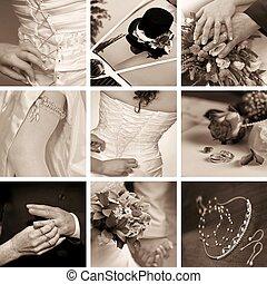 wedding collage - collage of nine wedding photos
