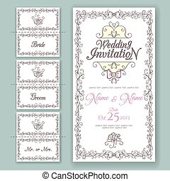 Wedding collection. Invitation and Name Cards design template.