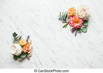 Wedding composition on the white marble background