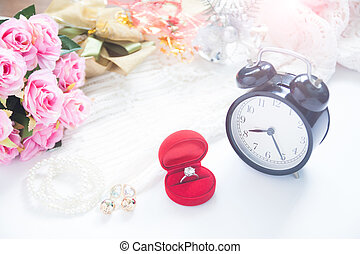 Wedding concept, Selective focus on diamond ring in red box