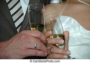 Wedding couple and champangne