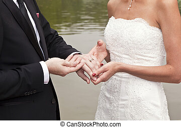 wedding couple are swearing lifetime loyalty in the park in...