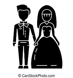 wedding couple - bride and groom icon, vector illustration, black sign on isolated background