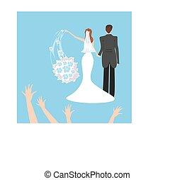 wedding couple, bride throws her wedding bouquet