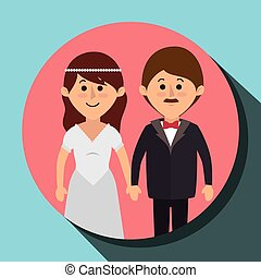 Wedding couple cartoon