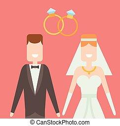 Wedding couple cartoon style vector illustration