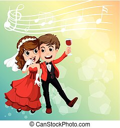 Wedding couple celebrating with music notes in background