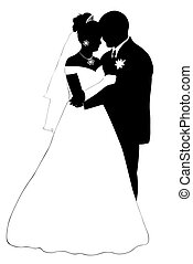 Wedding Couple - wedding couple silhouette isolated on white...