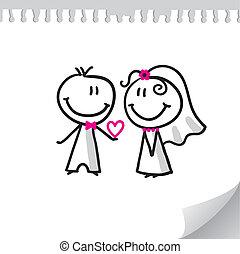 wedding couple - cheerful wedding couple on realistic paper...