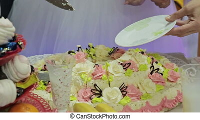 Wedding couple cutting a wedding cake on their wedding day