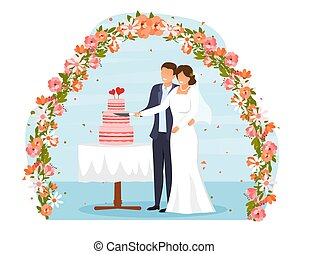 Cute wedding couple of bride and groom. Wedding day, holiday, event, date. Beautiful happy man and woman cutting big holiday cake. Cartoon flat vector illustration