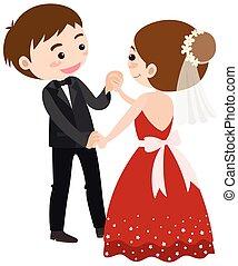 Wedding couple dancing on white background