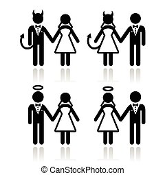 Wedding couple - devil and angel