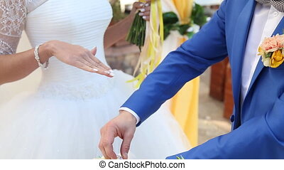 Wedding couple exchanging the rings