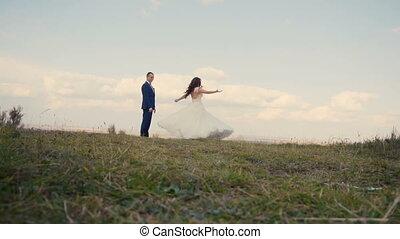 Wedding Couple Having Fun