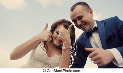 Wedding Couple Having Fun