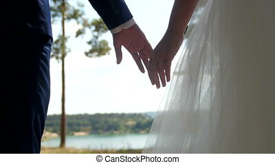 Wedding couple holding hands on pine forest