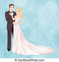 Wedding couple - Illustration of bride and groom on blue...