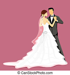 Wedding Couple - illustration of newly married couple in ...