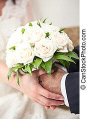 Wedding couple in hands