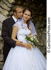 wedding couple in romantic grotto