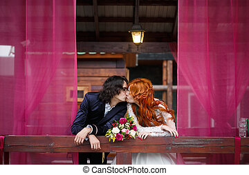 Wedding couple in rustic style