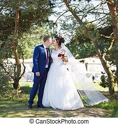 Wedding couple in the garden