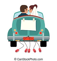 Wedding couple in vintage car with cans backward