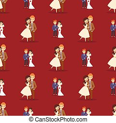 Wedding couple is hugging each other vector seamless pattern girl in white dress and man in suit beauty bride with groom female and male character.