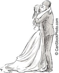 Wedding couple kiss. Newlywed. Vector sketch