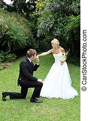 Wedding Couple Kiss - Handsome groom kneeling to kiss his...