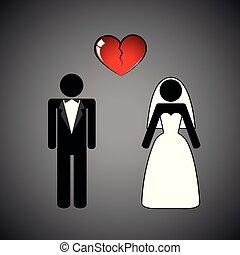 wedding couple man and woman separate broken heart pictogram