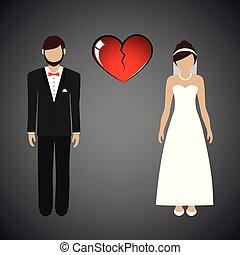 wedding couple man and woman separate broken heart
