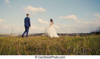 Wedding Couple Mountain Walk