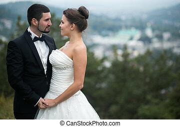 Wedding couple on nature