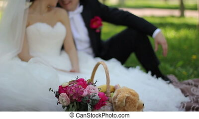 wedding couple on picnic in park