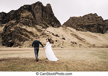 Wedding couple on the background of a rocky mountain and grazing horses in Iceland. The bride and groom are walking on the field holding hands.