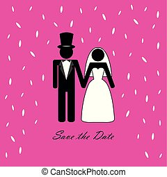 wedding couple pictogram with rice pink background vector...
