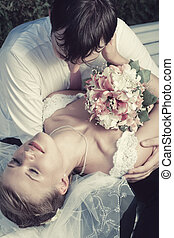 Wedding couple portrait - Young wedding couple tender ...