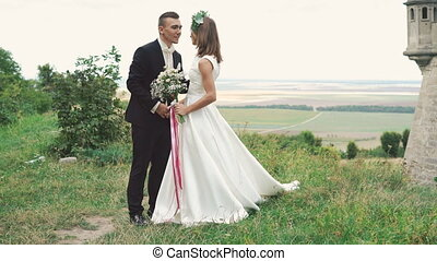 Wedding couple posing on camera on the lawn near the castle. 4k