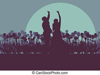 Wedding couple romantic landscape with bride and groom in tulip field sunset vector