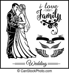 Wedding couple silhouette groom and bride - vector stock