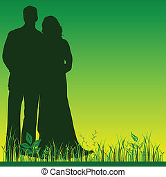 wedding couple silhouette in green color