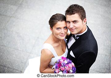 Wedding couple - Close up of a nice young wedding couple