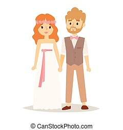 Wedding couple vector beautiful model girl in white dress and man in suit bride illustration