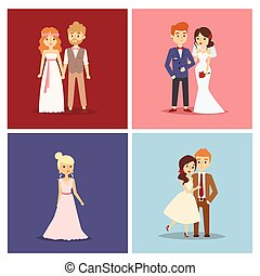 Wedding couple vector beautiful model girl in white dress and man in suit bride illustration design card
