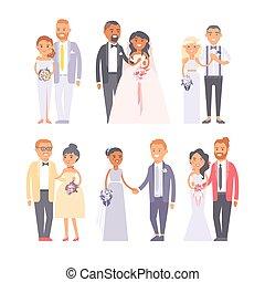 Wedding couple vector illustration.