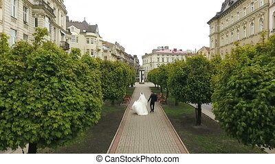 Wedding Couple Walking Trees Alley